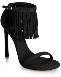 Black Fringe Suede Heeled Sandals