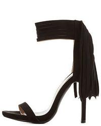 Charlotte Russe Fringe Single Sole Ankle Strap Heels