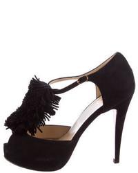Christian Louboutin Fringe Trimmed T Strap Sandals