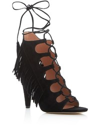 Sigerson Morrison Marita Fringe Lace Up High Heel Sandals