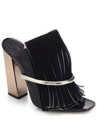 Proenza Schouler Metal Bar Suede Fringed Mule Sandals