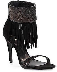 Schutz Tekinha Woven Leather Suede Fringed Ankle Cuff Sandals