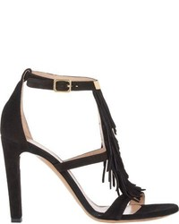 Chloé Suede Fringe Trim Sandals Black