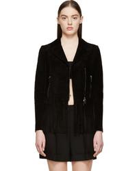 Black Fringe Suede Jacket