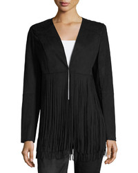 philosophy Faux Suede Fringed Jacket Black