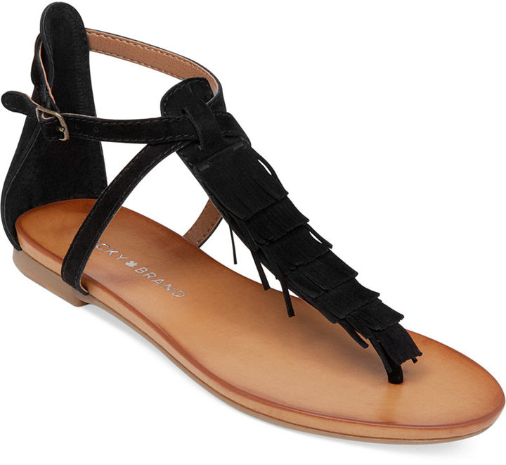 c7ea59e4de93 ... Lucky Brand Wekka Fringe Flat Thong Sandals ...