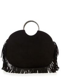 Black Fringe Suede Tote Bag