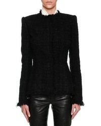 Alexander McQueen Metallic Tweed Fringe Trim Jacket Black