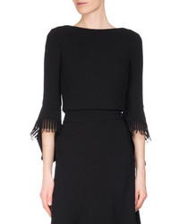 Roland Mouret Liverton Fringe 34 Sleeve Crop Top Black