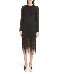 Givenchy Fringe Hem Wool Crepe Sheath Dress