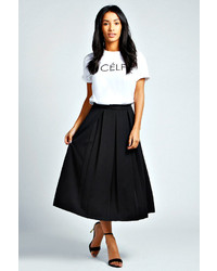 Boohoo Bea Box Pleat Midi Length Scuba Skater Skirt
