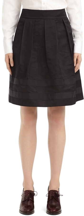 Brooks Brothers Silk Full Pleated Skirt