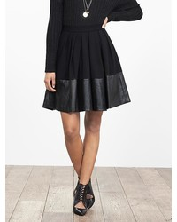 Faux Leather Hem Full Skirt