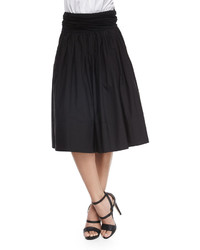 Donna Karan Full Skirt Wruched Waistband Black