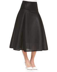 Jonathan Simkhai Textured Full Pleated Midi Skirt Black