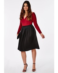 Missguided Plus Size Midi Skater Skirt Black