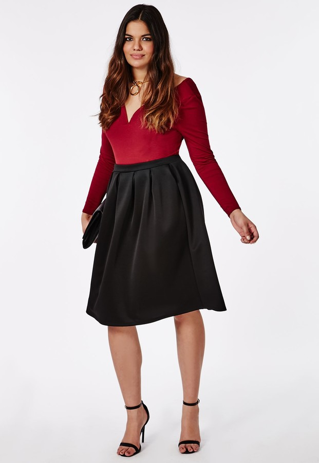 purchase genuine clients first attractive price $44, Missguided Plus Size Midi Skater Skirt Black