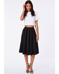 Missguided Quilted Full Midi Skirt Black