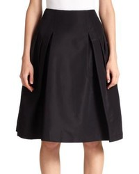 Carolina Herrera Night Collection Silk Faille Pleated Skirt
