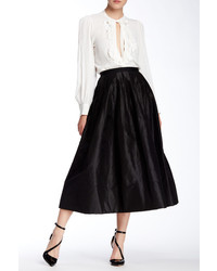 Oscar de la Renta Pleated Full Silk Skirt