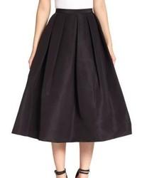 Tibi Silk Faille Pleated A Line Skirt