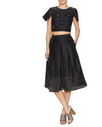 Tibi Techno Pleated Full Skirt