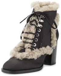 Laurence Dacade Manushka Shearling Fur Ankle Boot Blackgray