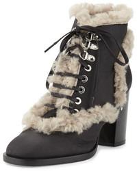 Laurence Dacade Manushka Shearling Fur Ankle Boot Blackgray