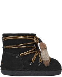 Dsquared2 Suede Snow Ankle Boots W Fur Tassels