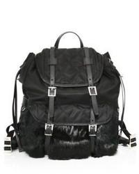 Prada Rabbit Fur Nylon Backpack