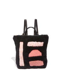 PRIMECUT Shapes Patchwork Genuine Shearling Backpack