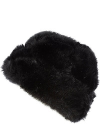 River Island Black Faux Fur Beanie Hat