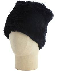 Adrienne Landau Black Rabbit Fur Beanie Hat