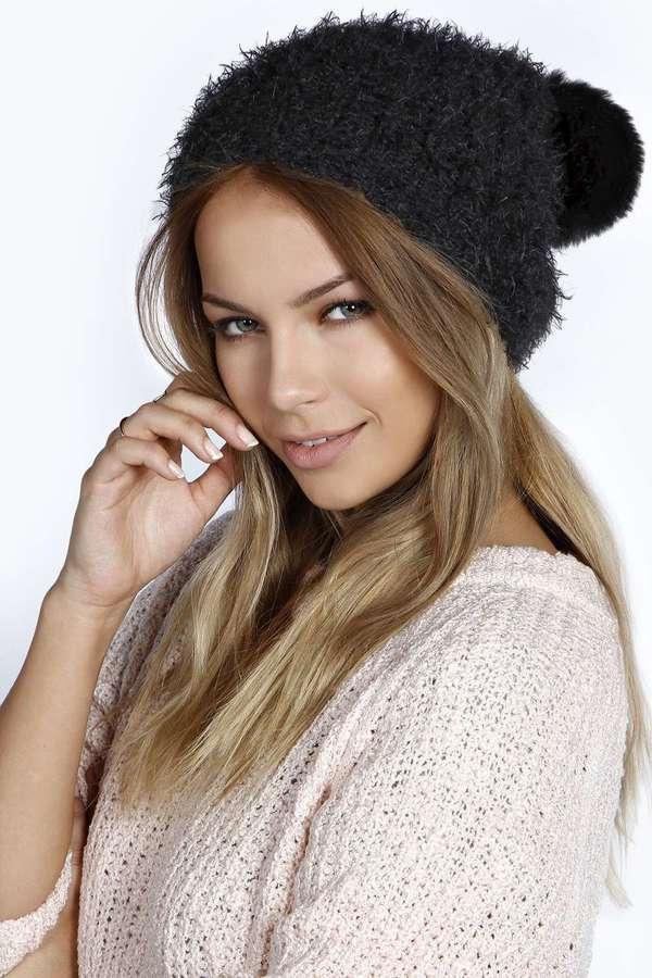 ... Boohoo Amelia Pom Pom Ears Beanie Hat ... 9e217cd6e69