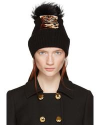 Dolce & Gabbana Black Fur Trimmed Cat Beanie