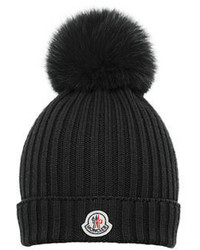 Moncler Girls Wool Pompom Beanie Hat