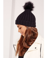 Missguided Black Faux Fur Pom Pom Beanie