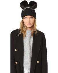 Kate Spade New York Cat Beanie With Faux Fur Pom Pom