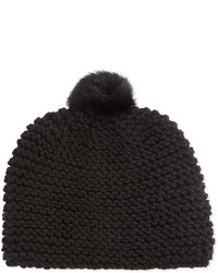Hat Attack Rabbit Fur Pompom Hat Black