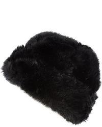 River Island Black Faux Fur Beanie Hat