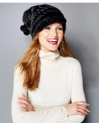 The Fur Vault Knitted Mink Rabbit Fur Slouchy Beanie