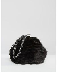 Missguided Chain Strap Faux Fur Clutch Bag