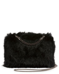 Stella McCartney Faux Fur Chain Clutch Bag Black