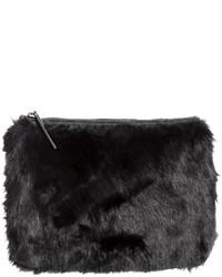 H&M Faux Fur Clutch Bag Black Ladies