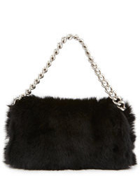 Alexander McQueen Folded Fur Clutch Bag Black