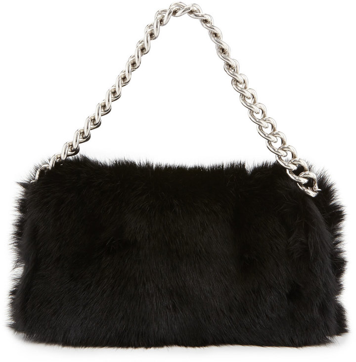 Alexander McQueen Folded Fur Clutch Bag Black | Where to buy & how ...