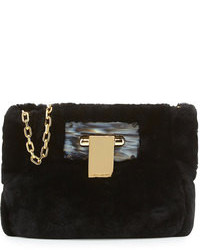 Tory Burch Fun Fur Flip Lock Shoulder Bag Black