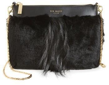 Ted Baker London Barbera Faux Fur Crossbody Bag Black