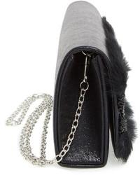 Natasha Couture Lace Faux Fur Embellished Clutch Black
