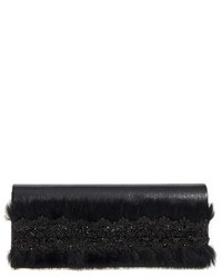 Natasha Couture Lace Faux Fur Embellished Clutch Black